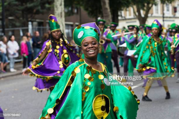 Kinetika Bloco group performs during the Family Day of the Notting Hill Carnival when young performers present their costumes and dance skills along...