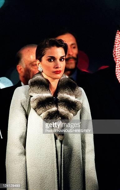 King Abdallah and Queen Rania of Jordan at Roi Hussein 1er de Jordanie Avenue Inauguration In Paris France On November 16 1999