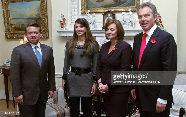 King Abdulah ll of Jordan Queen Rania Cherie Blair and Tony Blair pose at St James's Palace in London where the Investment Opportunities in Jordan...