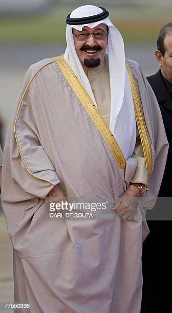 King Abdullah Al Saud of Saudi Arabia arrives at Heathrow Airport in west London 29 October 2007 Saudi Arabia's King Abdullah said Monday the British...