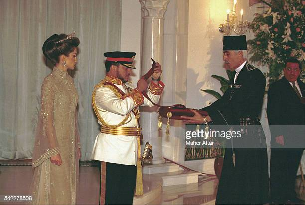King Abdullah and Queen Rania at Raghadan Palace at the investiture ceremony of his coronation.