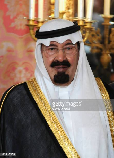 King Abdullah Bin Abdelaziz Al Saud of Saudi Arabia is received July 15 2008 at the Royal Palace in Madrid Spain