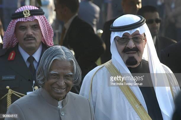 King Abdullah bin Abdul Aziz alSaud with APJ Abdul Kalam President of India at the Republic Day of India at Rashtrapati Bhawan in New Delhi India