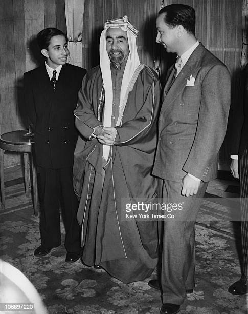 King Abdullah I of Transjordan chats with young King Faisal II of Iraq and his regent Crown Prince Abd alIlah of Iraq during a visit to the UK 18th...