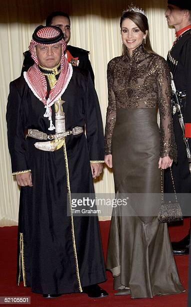 King Abdullah II And Queen Rania Of Jordan At A Banquet At Spencer House In London During Their State Visit To Britain.
