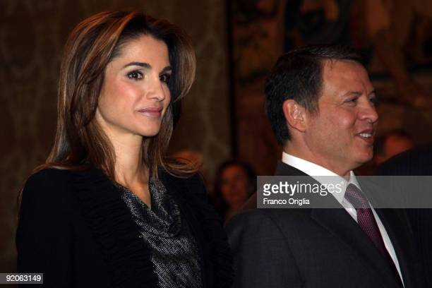 King Abdullah II and Queen Rania of Jordan attend a meeting with Italian President Giorgio Napolitano at the Quirinale palace on October 20 2009 in...