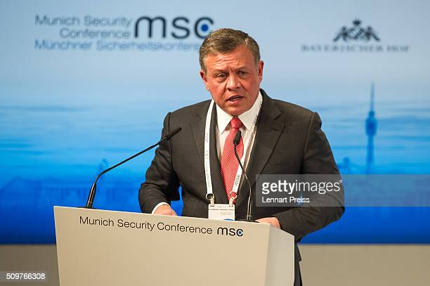King Abdullah II bin Al Hussein of Jordan speaks at the 2016 Munich Security Conference at the Bayerischer Hof hotel on February 12 2016 in Munich...