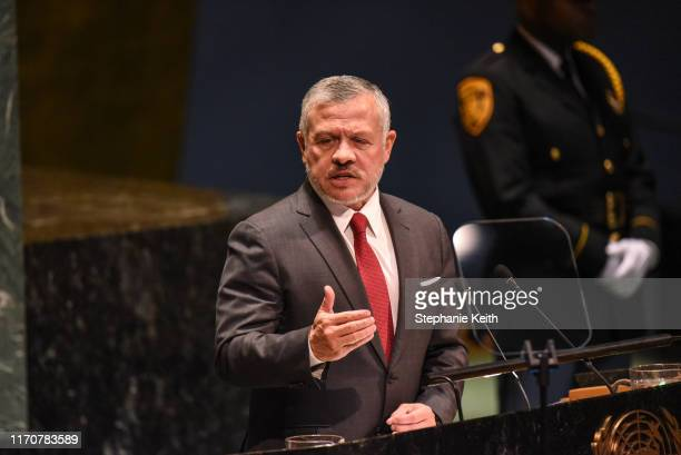 King Abdullah II bin Al Hussein of Jordan speaks at the United Nations General Assembly on September 24, 2019 in New York City. World leaders are...