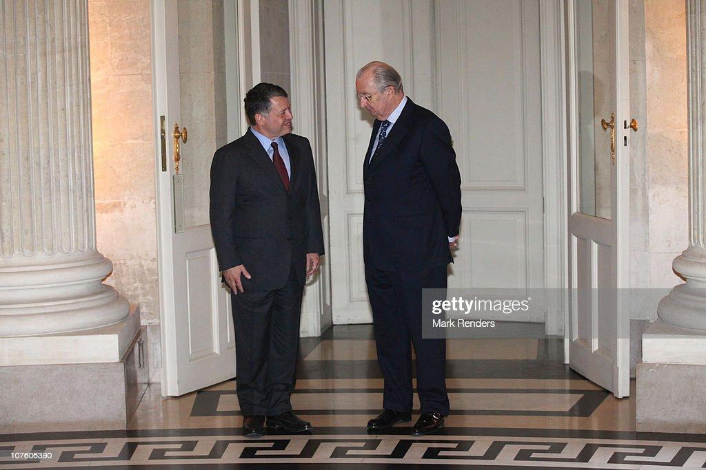 King Abdullah II bin Al-Hussein of Jordan and King Albert II of Belgium speak ahead of their lunch at Laeken Castle on December 15, 2010 in Brussels, Belgium.
