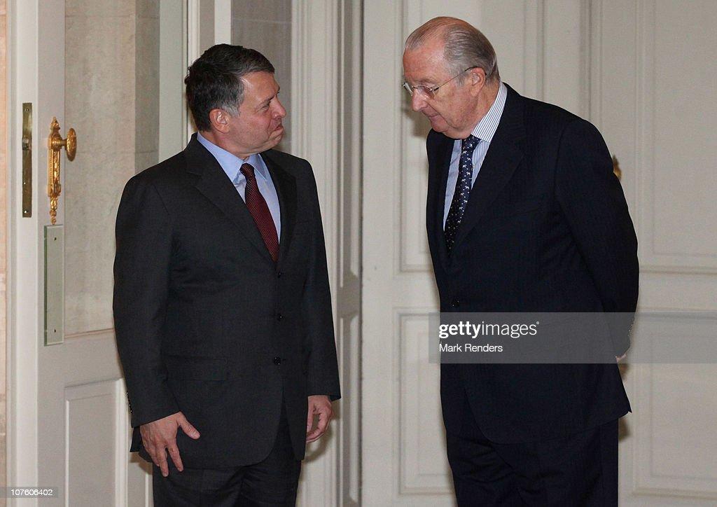 King Albert Of Belgium Hosts King Abdullah II For Lunch : News Photo