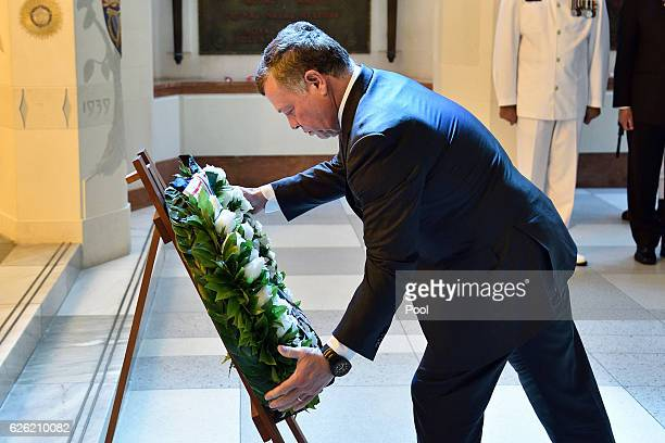 King Abdullah II Ibn Al Hussein of Jordan lays a wreath during a wreath laying ceremony at the National War Memorial on November 28 2016 in...