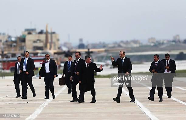 King Abdullah II of Jordan arrives at Marka airport to welcome Emir of Kuwait Sheikh Sabah AlAhmad AlJaber AlSabah to Amman for talks on February 23...
