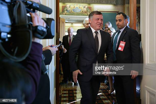King Abdullah II of Jordan arrives for meeting with members of the Senate Appropriations Committee at the US Capitol February 3 2015 in Washington DC...