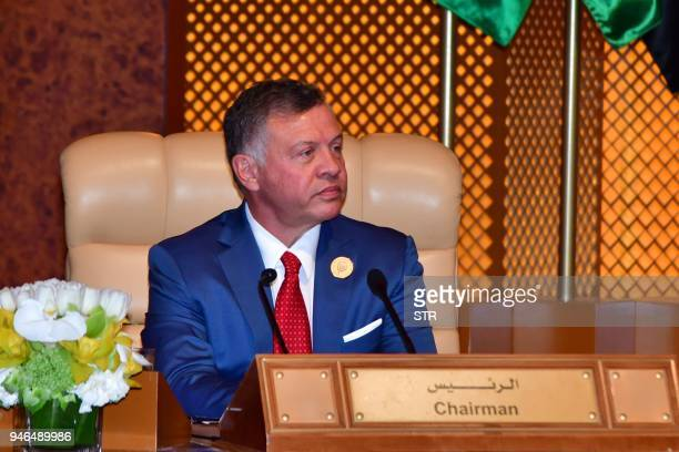 King Abdullah II of Jordan attends the 29th Summit of the Arab League at the Ithra center in Dhahran Eastern Saudi Arabia on April 15 2018