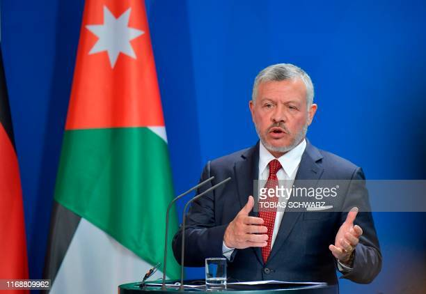 King Abdullah II of Jordan gives a joint press conference with the German Chancellor following talks on economic issues and the bilateral...