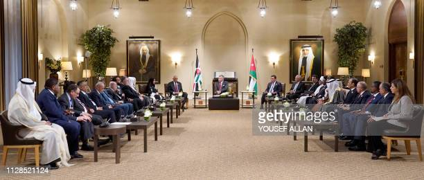 King Abdullah II of Jordan hosts the conference of Arab Parliaments in Amman on March 3 2019