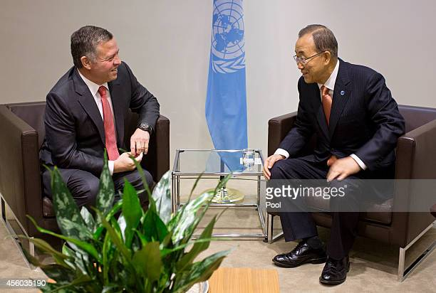 King Abdullah II of Jordan meets with SecretaryGeneral Ban Kimoon during the 69th United Nations General Assembly at UN headquarters on September 24...