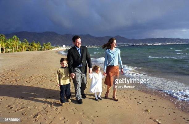 MA'AN JORDAN JANUARY 01 King Abdullah II of Jordan Queen Rania Prince Hussien and Princess Iman are photographed for Life Magazine in 2000 walking on...