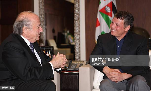 King Abdullah II of Jordan receives FIFA President Joseph S. Blatter at the Royal Palace on March 23, 2010 in Amman, Jordan. Blatter, who is on a...