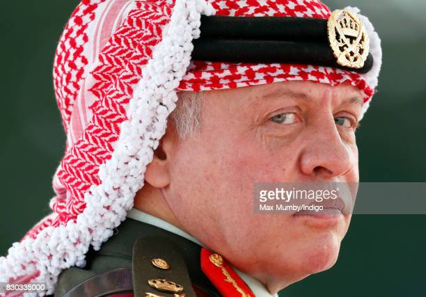 King Abdullah II of Jordan represents Queen Elizabeth II as he attends the Sovereign's Parade at the Royal Military Academy Sandhurst on August 11...
