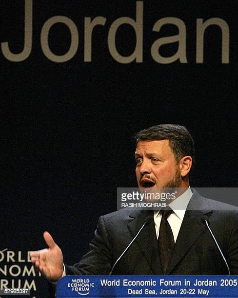 King Abdullah II of Jordan, speaks at the final session of the World Economic Forum in the Jordanian Dead Sea resort of Shuneh, south of Amman, 22...
