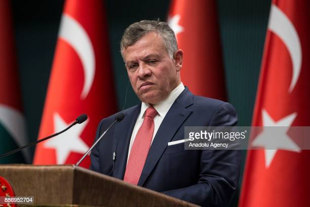 King Abdullah II of Jordan speaks during a joint press conference with Turkish President Recep Tayyip Erdogan after their meeting at the Presidential...