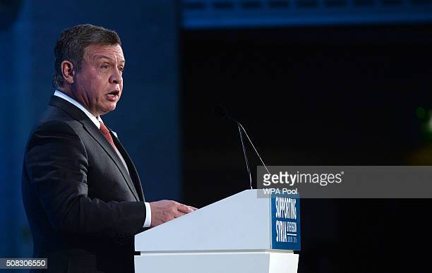 King Abdullah II of Jordan speaks during the 'Supporting Syria and the Region' conference at the Queen Elizabeth II Conference Centre on February 4...