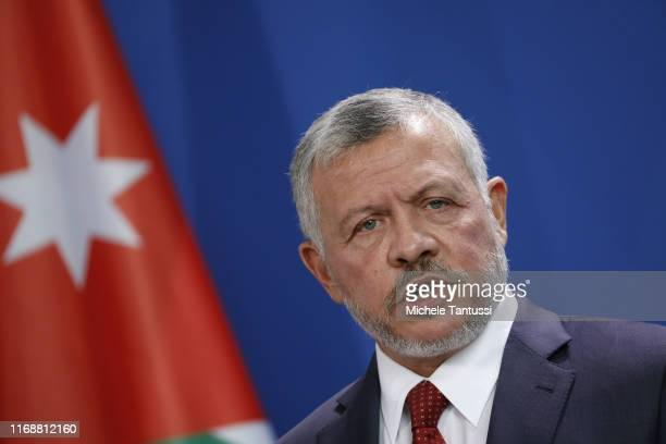 King Abdullah II of Jordan speaks to the media following talks with German Chancellor at the Chancellery on September 17, 2019 in Berlin, Germany....