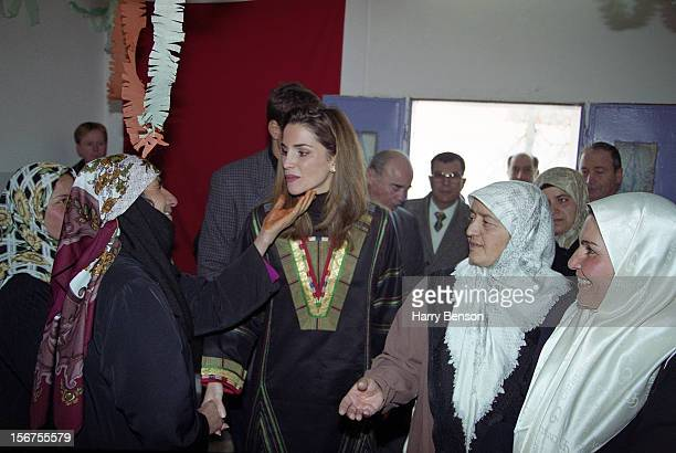 MA'AN JORDAN JANUARY 01 King Abdullah II of Jordan's wife Queen Rania is photographed greeting admirers for Life Magazine in 2000 in Ma'an Jordan