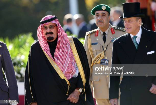 King Abdullah of Saudi Arabia and Prince Philip Duke of Edinburgh attend a ceremonial welcome at Horse Guards Parade on October 30 2007 in London...