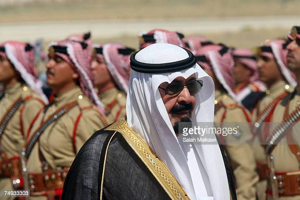 King Abdullah of Saudi Arabia reviews a guard of honour during a reception held by to King Abdullah of Jordan upon his arrival on June 27 2007 in...