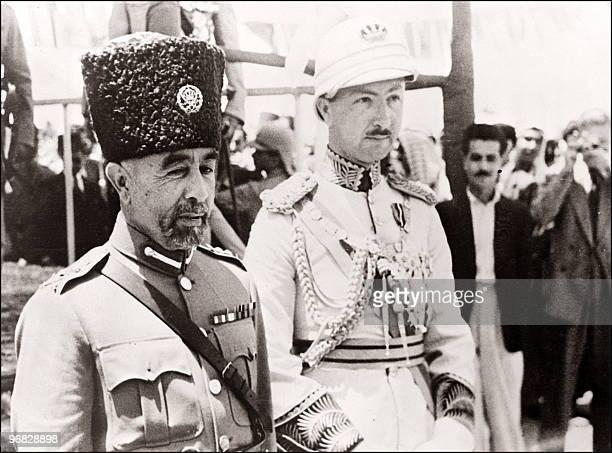 King Abdullah of Transjordan and Prince regent Emir Abdul Illah of Iraq at the beginning of 1948 in Amman King Abdullah son of Cherif Hussein...