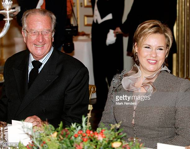 King Albert and Grand Duchess Maria Theresa from Luxembourg have lunch before opening of an exhibition celebrating 100 years since Queen Astrid's...