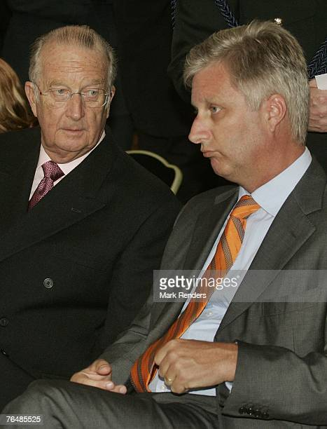 King Albert and Prince Philippe from Belgium assist a party for Queen Paola's 70th birthday at Laeken Castle on September 02 2007 in the Belgian...