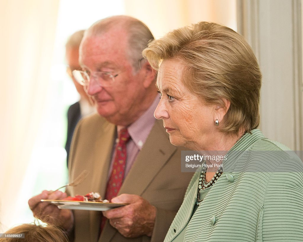 King Albert and Queen Paola of Belgium assist Princess Astrid's 50th birthday at Schonenberg Residence on June 2, 2012 in Brussels, Belgium.