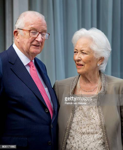 King Albert and Queen Paola of Belgium attends the 80th birthday celebrations of Belgian Queen Paola on June 29 2017 in Waterloo Belgium The...