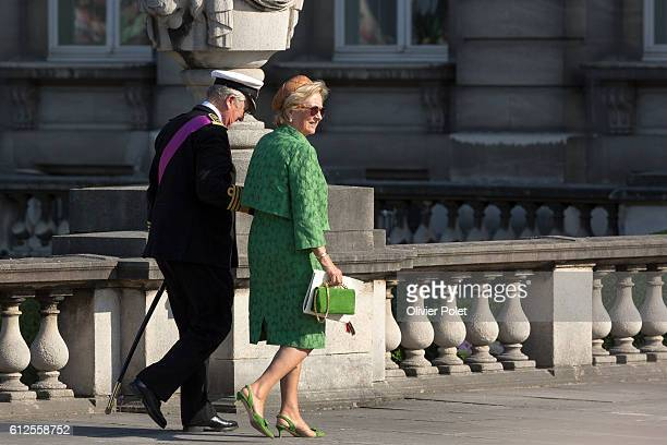 King albert and queen paola, pictured when the couple is leaving the military parade of the troops of the Belgian Army on the Belgian National Day,...