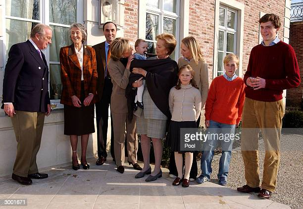 King Albert Archduchess Margherita Prince Lorenz Prince Joachim Princess Astrid Princess LouisaMaria and Prince Amedeo attend a photocall to...