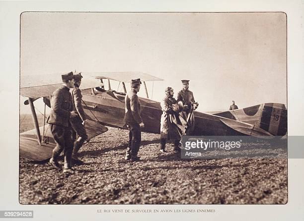 King Albert I and pilot in front of biplane in Flanders during the First World War Belgium
