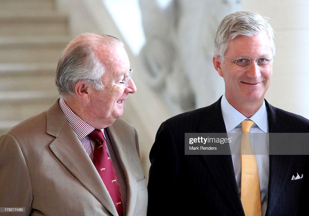 King Albert II and Prince Philippe (R) of Belgium meet former Prime Ministers of Belgium at Laeken Castle on July 10, 2013 in Brussels, Belgium.