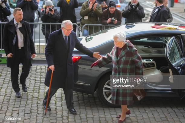 King Albert II and Queen Paola attend the Annual Memorial Mass for deceased members of the Royal Family at the Church of Our Lady of Laeken on...