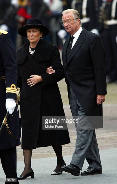 King Albert II and Queen Paola of Belgium arrive for the funeral ceremony of Prince Claus of the Netherlands at the Nieuwe Kerk church October 15...