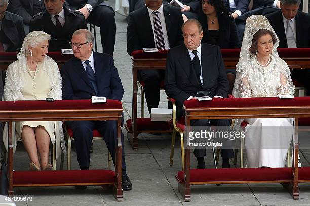 King Albert II and Queen Paola of Belgium King Juan Carlos and Queen Sofia of Spain attend the canonisations of Popes John Paul II and John XXIII...