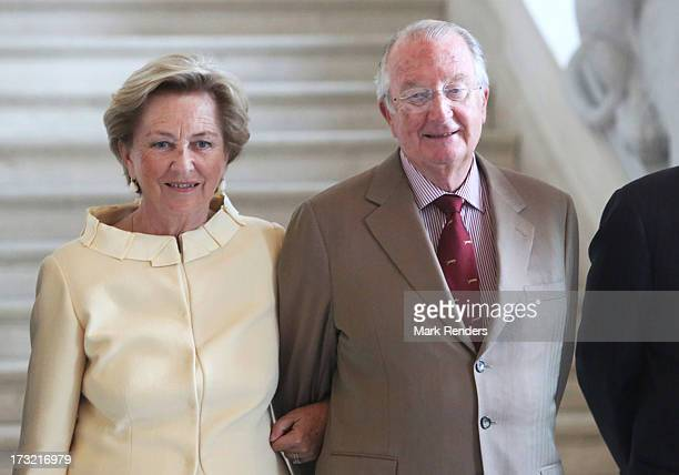King Albert II and Queen Paola of Belgium meet former Prime Ministers of Belgium at Laeken Castle on July 10 2013 in Brussels Belgium
