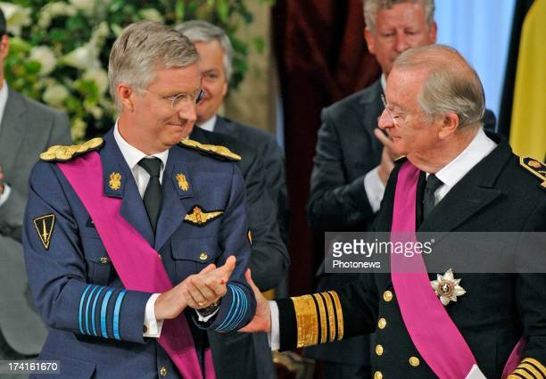 King Albert II of Belgium and Prince Philippe of Belgium during the Abdication Ceremony of King Albert II Of Belgium in favour of Prince Philippe at...