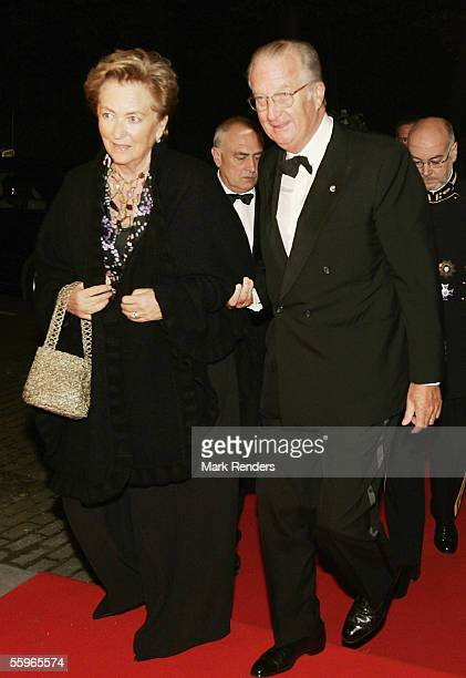 King Albert II of Belgium and Queen Paola arrive at a reception at the Cercle Gaulois in Brussels on October 19 2005 in the Belgian capital Brussels...