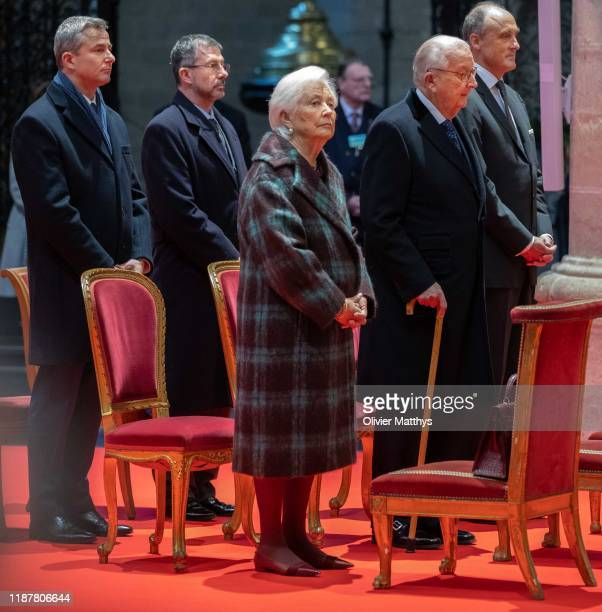 King Albert II of Belgium and Queen Paola celebrate King Philippe's birthday during a Te Deum in the Cathedral of SaintMichael and SaintGudele on...