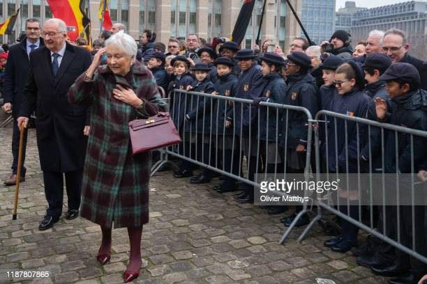 King Albert II of Belgium and Queen Paola greet the students of the Brussels International Catholic School BICS in front of the Cathedral of...