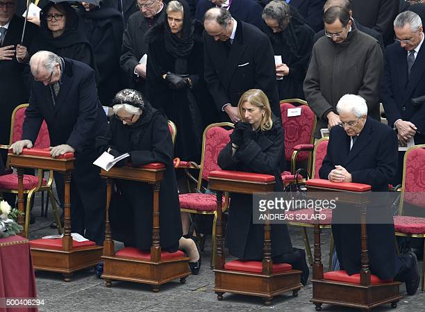 King Albert II of Belgium and Queen Paola Italian President Sergio Mattarella and his daughter Laura attend a papal mass at St Peter's square for the...