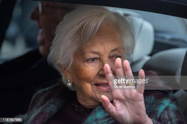 King Albert II of Belgium and Queen Paola leave the Cathedral of SaintMichael and SaintGudele after the celebration King Philippe's birthday during a...